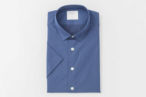 Smyth and Gibson Polka Dot Print Slim Fit Short Sleeve Shirt in Navy - Smyth & Gibson Shirts