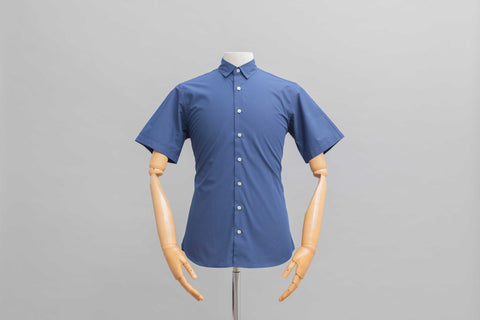 Smyth and Gibson Polka Dot Print Slim Fit Short Sleeve Shirt in Navy