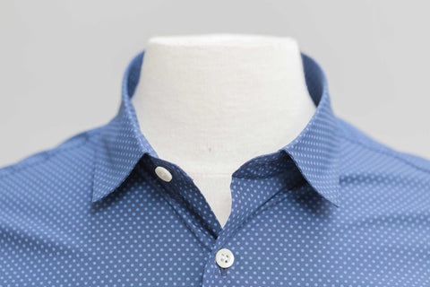 Smyth & Gibson Polka Dot Print Slim Fit Short Sleeve Shirt in Navy