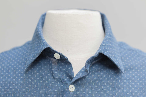Smyth and Gibson Printed Indigo Dyed Linen Slim Fit Shirt