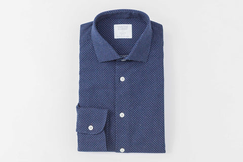 Smyth and Gibson Indigo Dyed Woven Spot Denim Tailored Fit Shirt