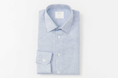 Smyth and Gibson Linen Cotton Weave Tailored Fit Shirt in Blue - Smyth & Gibson Shirts