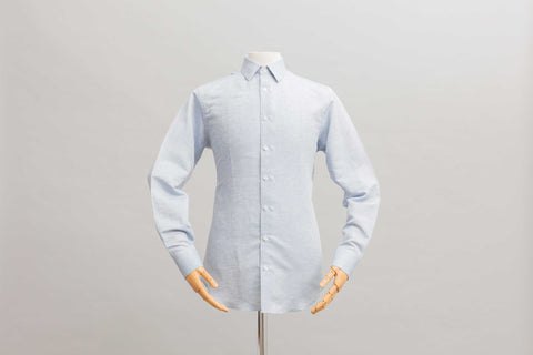 Smyth & Gibson Linen Cotton Weave Tailored Fit Shirt in Blue