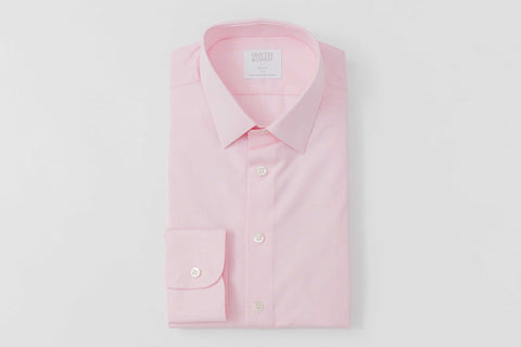 Smyth and Gibson Luxury End on End Poplin Slim Fit Shirt in Pink
