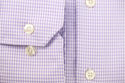 Smyth & Gibson S.W.E. Non-Iron Twisted Gingham Check Shirt in Lilac
