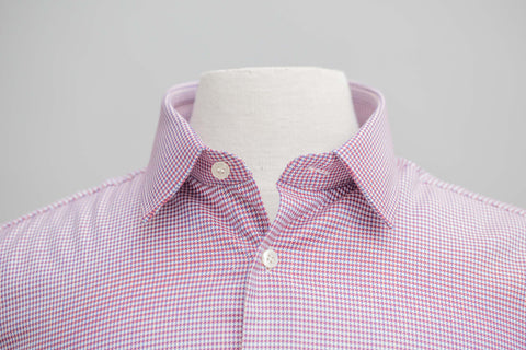 Smyth & Gibson S.W.E. Non-Iron Houndstooth Twill Slim Fit Shirt in Red
