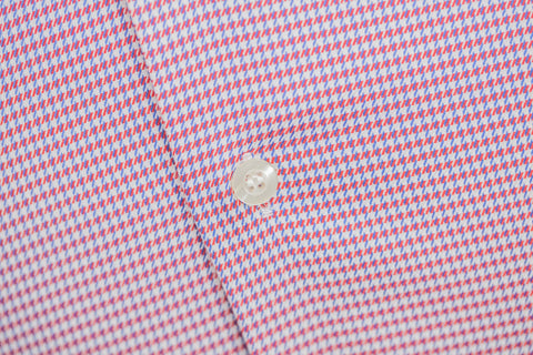 Smyth & Gibson S.W.E. Non-Iron Houndstooth Twill Contemporary Fit Shirt in Red