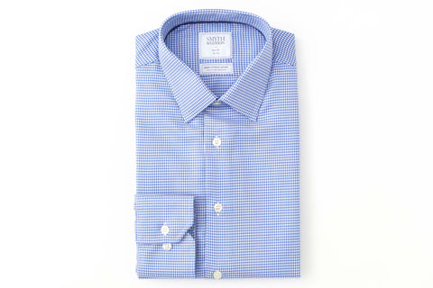 Smyth and Gibson Mens Non-Iron Blue Houndstooth Twill Slim Fit 100% Cotton Shirt - Smyth & Gibson Shirts