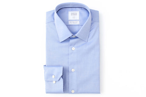 Smyth and Gibson Mens Non-Iron  Blue Micro Herringbone Twill Slim Fit 100% cotton Shirt