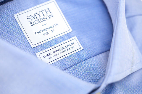 Smyth and Gibson Mens Non-Iron Blue Micro Herringbone Twill Contemporary Fit 100% Cotton Shirt