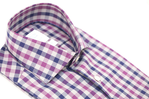 Smyth & Gibson S.W.E. Non-Iron Herringbone Check Contemporary Fit Shirt in Purple & Navy