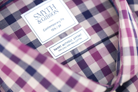 Smyth and Gibson Mens Non-Iron Purple & Navy Herringbone Twill Check 100% Cotton Shirt