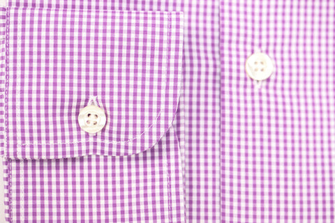 Smyth and Gibson Non-Iron Gingham Check Slim Fit Shirt in Purple