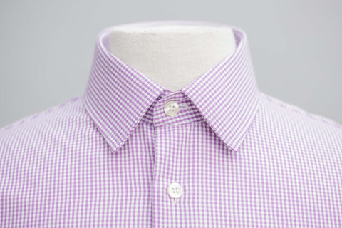 Smyth and Gibson Mens Non-Iron Purple Gingham Check Slim Fit 100% Cotton Shirt