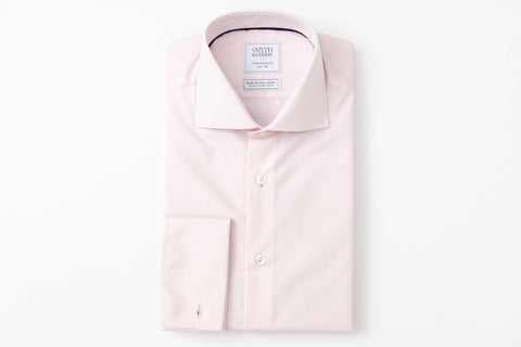 Smyth and Gibson Mens Non-Iron Pink Plain Poplin Double Cuff 100% Cotton Shirt - Smyth & Gibson Shirts