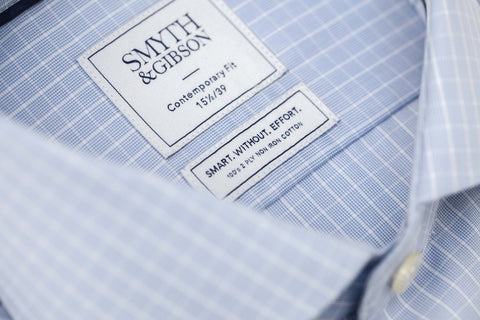 Smyth and Gibson Mens Non-Iron Sky Blue Broken Check Double Cuff 100% Cotton Shirt