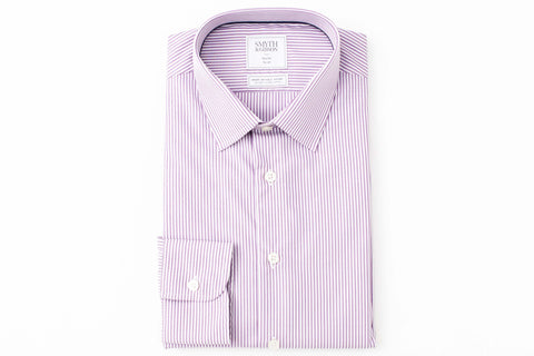 Smyth and Gibson Mens Non-Iron Purple Bengal Stripe Slim Fit 100% Cotton Shirt - Smyth & Gibson Shirts