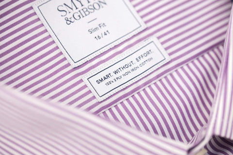 Smyth & Gibson S.W.E. Non-Iron Bengal Stripe Slim Fit Shirt in Purple