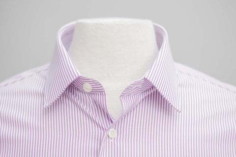 Smyth and Gibson Mens Non-Iron Purple Bengal Stripe Slim Fit 100% Cotton Shirt