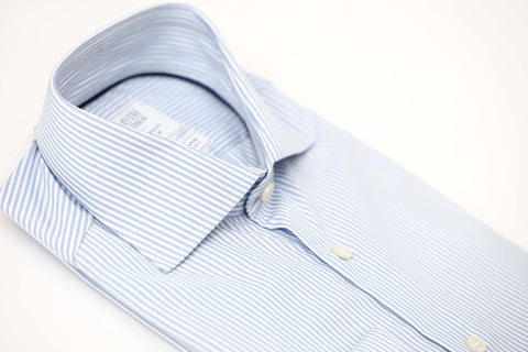 Smyth & Gibson S.W.E. Non-Iron Bengal Stripe Double Cuff Shirt in Sky Blue