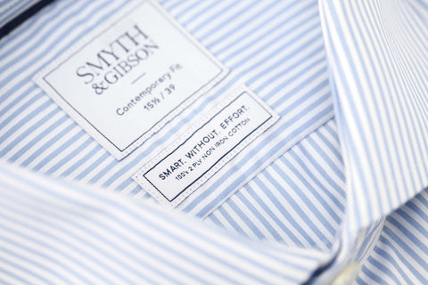 Smyth and Gibson Mens Non-Iron Sky Blue Bengal Stripe Double Cuff 100% Cotton Shirt