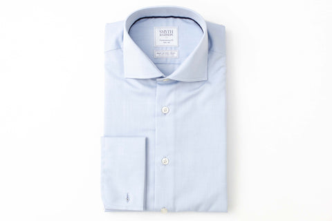 Smyth and Gibson Mens Non-Iron Blue Plain Poplin Double Cuff 100% Cotton Shirt - Smyth & Gibson Shirts