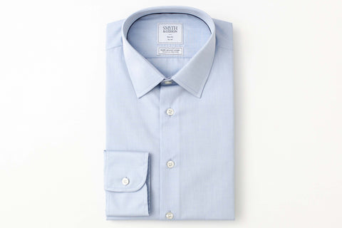 Smyth and Gibson Mens Non-Iron  Blue Plain Poplin Slim Fit 100% Cotton Shirt