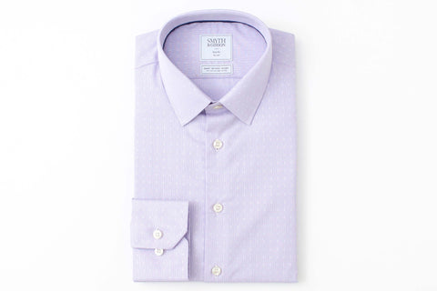 Smyth and Gibson Mens Non-Iron Lilac Micro Houndstooth Dobby 100% Cotton Shirt