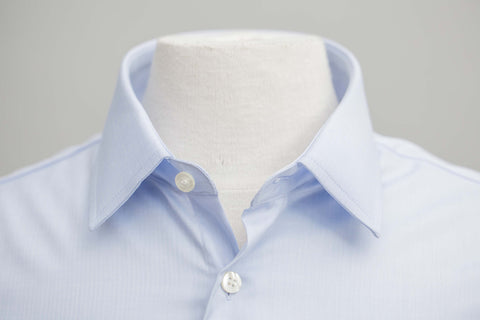Smyth and Gibson Mens Non-Iron Blue Micro Herringbone Twill 100% Cotton Shirt