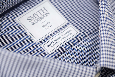 Smyth and Gibson Mens Non-Iron Navy Houndstooth Twill Slim Fit 100% Cotton Shirt