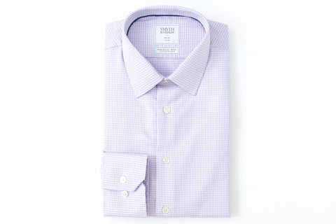 Smyth and Gibson Mens Non-Iron Lilac Twisted Gingham Check 100% Cotton Shirt