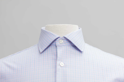 Smyth & Gibson S.W.E. Prince of Wales Check Contemporary Fit Shirt in Sky & Pink