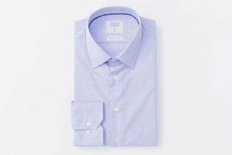 Smyth and Gibson Non Iron Prince of Wales Check Slim Fit Shirt in Sky & Pink