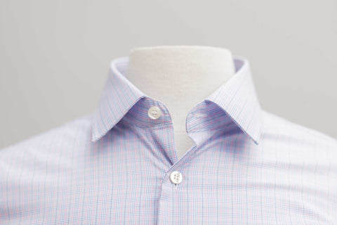Smyth & Gibson S.W.E. Prince of Wales Check Slim Fit Shirt in Sky & Pink