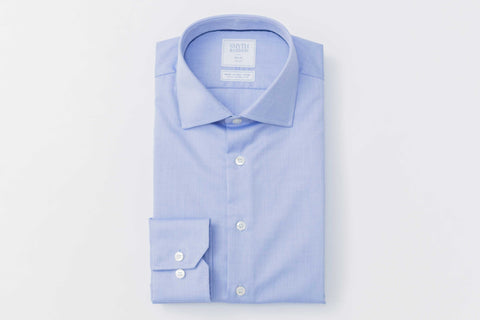 Smyth & Gibson S.W.E. Non Iron Herringbone Twill Slim Fit Shirt in Blue