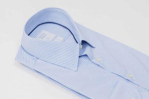 Smyth and Gibson Non Iron Gingham Check Slim Fit Shirt in Sky Blue