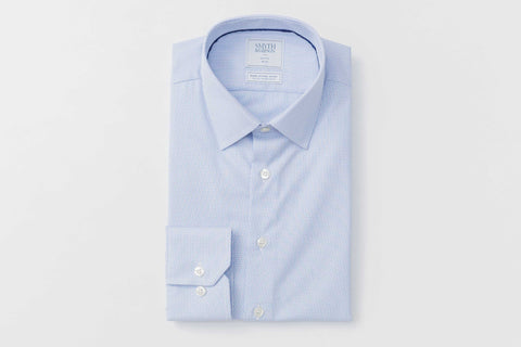Smyth and Gibson Non Iron Pique Dashes Stripe Slim Fit Shirt in Sky Blue - Smyth & Gibson Shirts