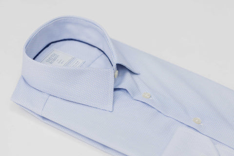 Smyth and Gibson Non Iron Pique Dashes Stripe Slim Fit Shirt in Sky Blue
