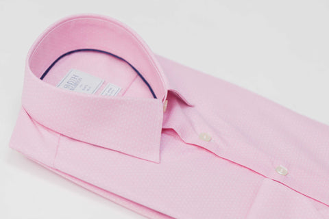 Smyth and Gibson Non Iron End on End Dobby Slim Fit Shirt in Pink