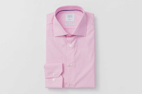 SMYTH & GIBSON S.W.E. NON IRON END ON END DOBBY CONTEMPORARY FIT SHIRT IN PINK