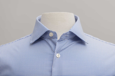 Smyth & Gibson S.W.E. Non Iron Twisted Gingham Contemporary Fit Shirt in Blue - Smyth & Gibson Shirts