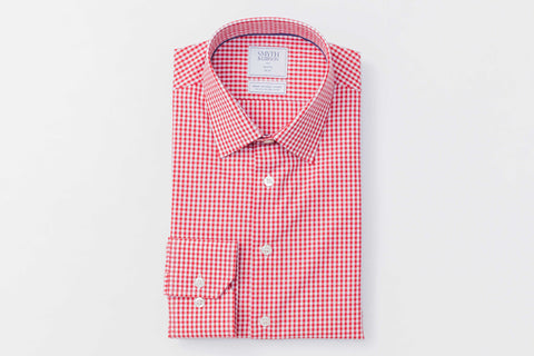 Smyth and Gibson Non Iron Gingham Dobby Slim Fit Shirt in Red