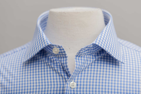 Smyth and Gibson Non Iron Gingham Dobby Contemporary Fit Shirt in Sky Blue