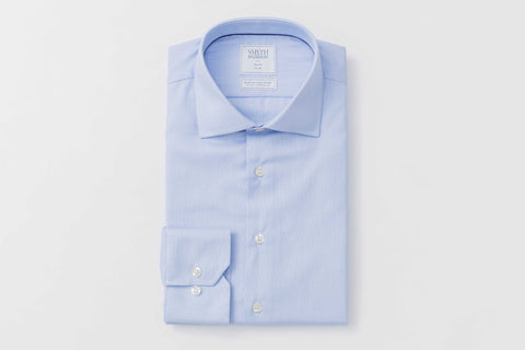 Smyth and Gibson Non Iron Pique Slim Fit Shirt in Sky Blue - Smyth & Gibson Shirts