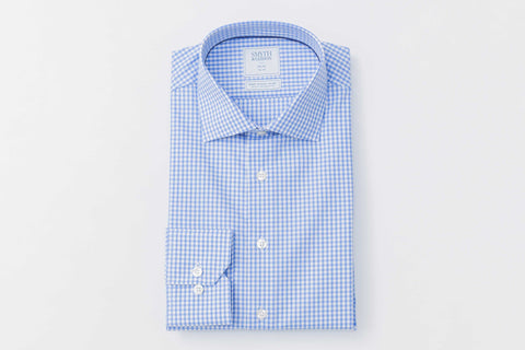 Smyth and Gibson Non Iron Gingham Dobby Check Slim Fit Shirt in Sky Blue - Smyth & Gibson Shirts