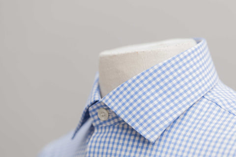 Smyth and Gibson Non Iron Gingham Dobby Check Slim Fit Shirt in Sky Blue
