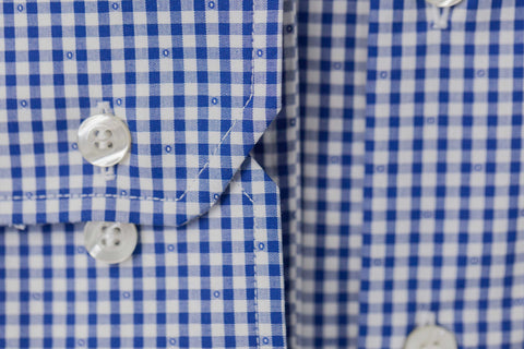 Smyth and Gibson Non Iron Gingham Check Dobby Slim Fit Shirt in Navy