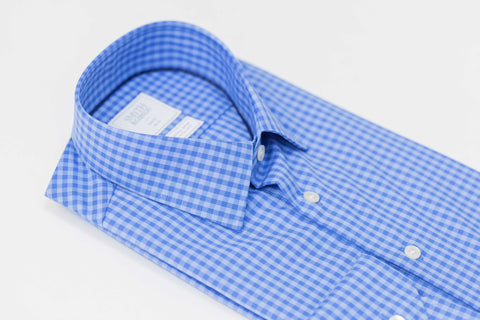 Smyth and Gibson Non Iron Multicheck Gingham Slim Fit Shirt in Blue