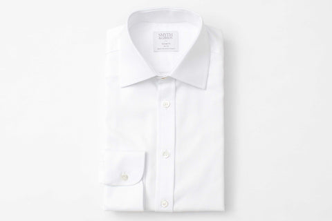 Smyth and Gibson Woven Texture Panama tailored Fit Shirt in White - Smyth & Gibson Shirts