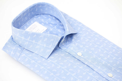 Smyth and Gibson Paisley Printed Check Tailored Fit Shirt in Sky & White